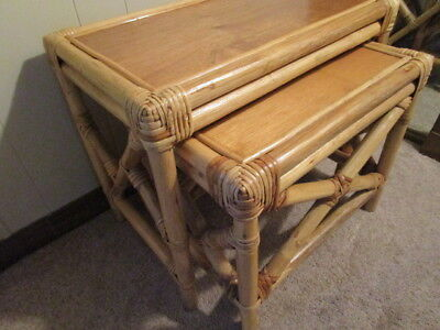 Vintage Pair Set of Rattan Bamboo Style Nesting Tables. Mid Century Style