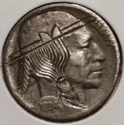 Vintage 1934 Engraved Hobo Buffalo Nickel Feather Braid Indian Head Nickle Cent