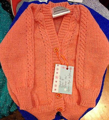 """Half Price Offer-See Details- Childs Cable Cardigan-4ply Peach Acrylic 20"""" Chest"""