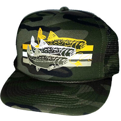 size 40 fd815 64f60 Trout Camouflage Camo Striped Snapback Mesh Trucker Hat Cap Fly Fishing