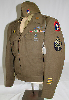 WWII US 5th ARMY NAMED UNIFORM GROUPING DOGTAG RIBBONS AND CIB BADGE