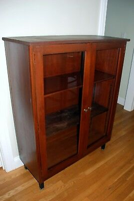 Vinage Mahogany Bookcase with Glass Doors and Brass Hardware Metal Legs