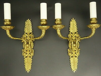 Pair Of Sconces Stamped, Empire Style, End 19Th - Bronze - French Antique