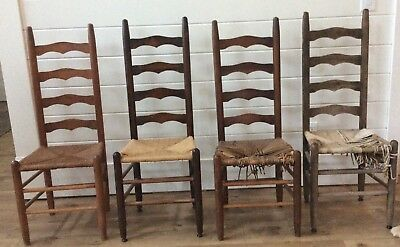 Lot 4 Antique Shaker Amish Ladder Back Ladderback Dining Chairs Rush Woven Seat