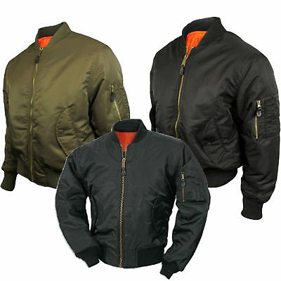 Mens Army Pilot Biker Bomber MA1 Fly Military US Airforce Combat Jacket