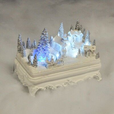 White Christmas Festive Scene With LED Lights And Moving Train Xmas Decoration