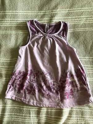 Calvin Klein Girls 3T Preowned Slightly Used Tank Top Purple With Butterflies