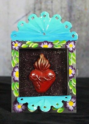 Hand Made Reliquary Retablo Sacred Heart Valentine's Day Gift Mexican Folk Art