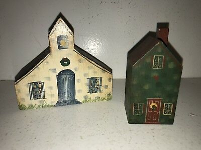 2 Janet Kleman-Veith Signed 1989 Hand Painted Wood Buildings Toledo Ohio