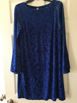 ECI New York Women Blue Velvet Damask Bell-Sleeve Floral Dress Size M