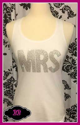 NEW Small misses white MRS tank top bachelorette tank top bride to be gift bling