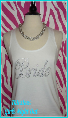 NEW size M misses white bling bride tank top bachelorette tank top bride bling