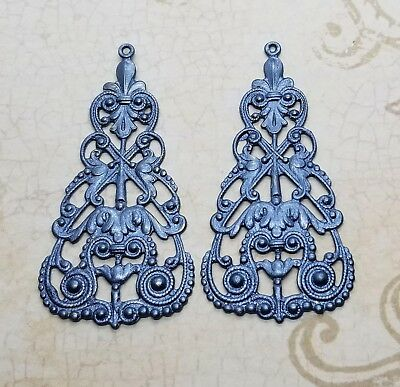 Large Metallic Pewter Filigree Dangle Stampings (2) - MPFF3412-3