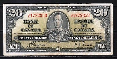 """Canada - 1937 Bank of Canada 20 Dollars Banknote P62c F """"King George VI"""""""