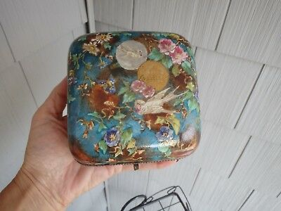 Antique French Faience Covered Trinket Box~ With Birds Tufted Interior