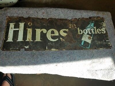 Vintage 1920s Hires Root Beer in Bottles Embossed Tin Tacker Sign Soda Pop Diner