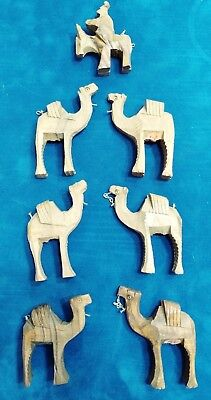 Camels Carved Wood 7 Pieces Nativity Addition Figurines