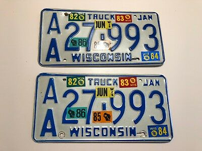 1981 Wisconsin Truck License Plate Pair AA