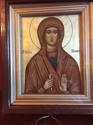 Old Antique Russian Icon of Saint Ionna Hand-Painted with KIOT (Box)