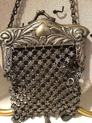 Antique Victorian Silver Plate Metal Mesh CHATELAINE Coin Purse Chainmaille