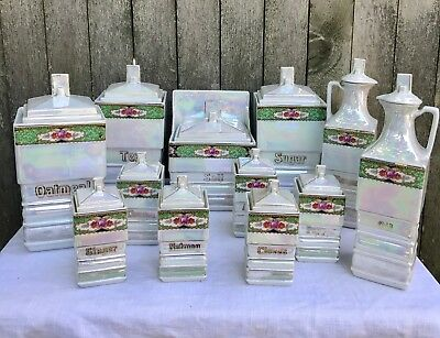 Mepoco Ware Germany Canister Kitchen Set Lot Irridescent Lustre Spice Jars Salt