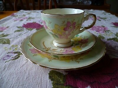 Pretty Vintage Tuscan English China Trio Tea Cup Saucer Plate Green Floral 7556