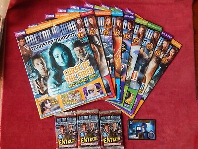 10X Old Doctor Who Monster Invasion Magazines & Extreme Trading Cards Autograph