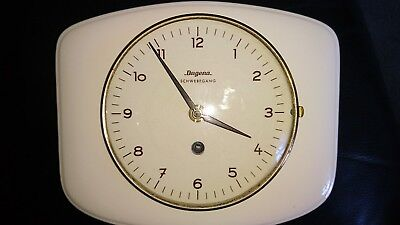 1970s Dugena Cream Ceramic Wall Clock German Vintage s Type Retro