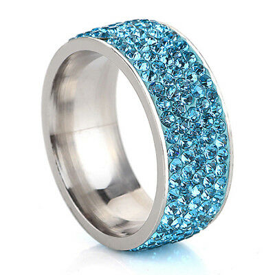 Stainless Steel White Sapphire Couple Simple Ring Silver/Rose Gold Band Size7-12