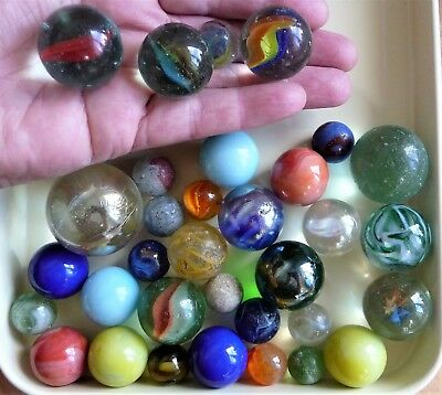 Job Lot Very Large Small Various Vintage Glass Game Classic Toy Marbles Alleys