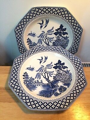 Pair of Vintage Royal Staffordshire Willow Pattern Octagonal Plate. J&G Meakin