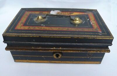 Old Vintage Black & Gold Metal Cash Box Money Tin with Insert No Key