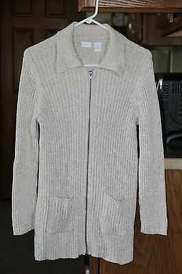 In Due Time Beige Maternity Full Zip Sweater with Pockets Size M EUC