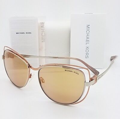 New Michael Kors sunglasses MK1013 1121R1 58 Audrina Silver Rose Gold Butterfly