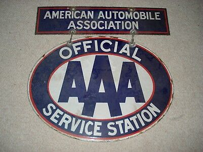 Very Rare AAA / American Automobile Association Double Sided Porcelain Sign
