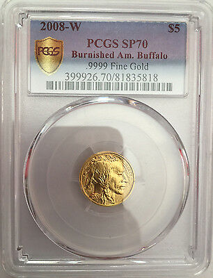 2008-W $5 GOLD American BUFFALO COIN PCGS SP70 MS70 Burnished