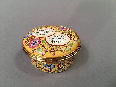 """Vintage Halcyon Days Pill Box """"... Blessed Because You're My Daughter"""""""