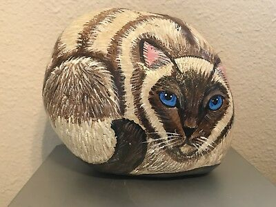 Hand-Painted Cat Kitty Siamese River Rock Realistic Stripes Blue Eyes