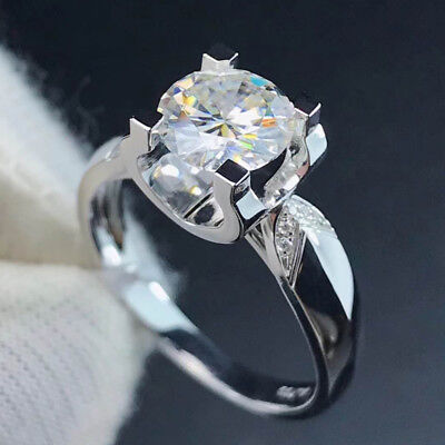 3CT DEF White Round Cut Moissanite Solitaire Engagement Ring 14k White Gold