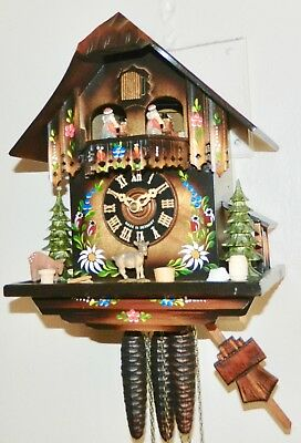 ***beautiful Hand Painted  Black Forest Musical Germany  Cuckoo Clock***