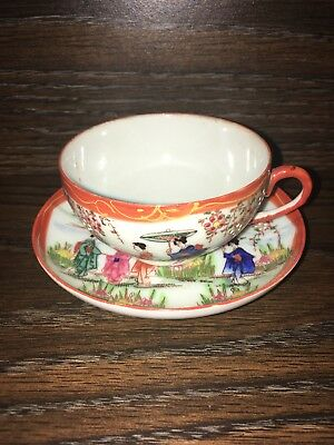 Antique Vintage Hand Painted Textured Oriental Chinese Teacup