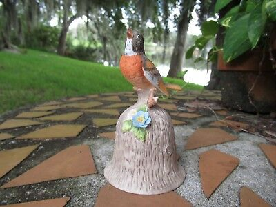 1980s Towle Fine Bone China Robin Bird Perched on Tree Log Bell Colorful