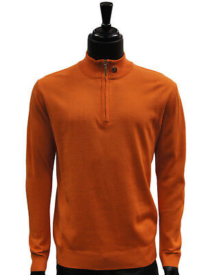 Stacy Adams Orange Lightweight Mens Half Zip Mock Neck Pullover Sweater