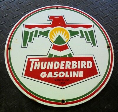 """Thunderbird Gasoline Porcelain Pump Plate Sign Garage Oil Can """"made In Usa 59"""""""