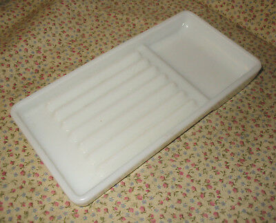Vintage White Milk Glass Dentist's Tool Tray #18 Certified Products Inc.