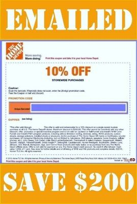 One (X1) Home Depot 1COUPON- 10% off. USE In store ONLY   Save up to $200.00