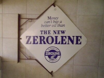 Gas & Oil Zerolene Motor Oil Double sided porcelain sign with hanging Bracket