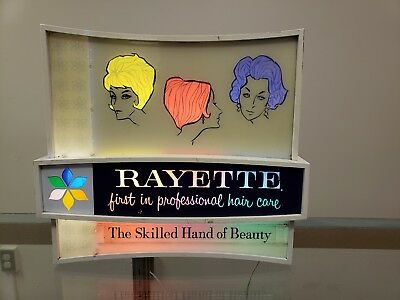 Rayette Proffessional Hair Care Lighted Vintage Sign Advertisement Barber Rare !