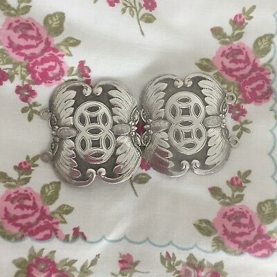 Antique Silver Belt Buckle Oriental Design Chinese