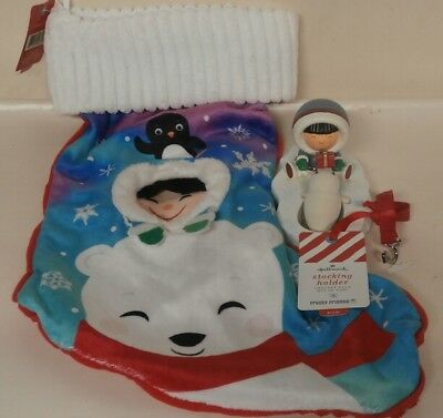 Hallmark Frosty Friends Stocking Holder (Seal) & Christmas Stocking NWTs